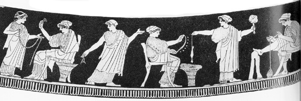 Weaving, shown here, was a primary duty of Greek women. Detail of Pyxis Vase, School of Douris (Hiketes group). 460 BCE.
