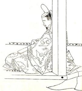 Illustration of Michitsuna no haha's husband: Fujiwara no Kaneie,by Kikuchi Yosai,a 19th centuryhistorical portraitist.
