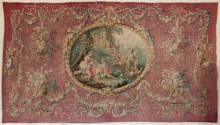 Photo of a tapestry made to celebrate Marie Antoinette's wedding to the Dauphin of France.