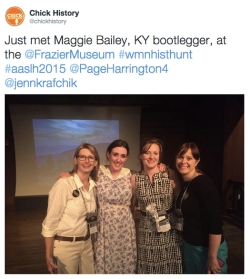 "Found the amazing story of Maggie Bailey, ""Queen of the Mountain Bootleggers."" Left to right: Page Harrington of Sewall-Belmont House & Museum, ""Maggie Bailey,"" Rebecca Price of Chick History, Jennifer Krafchik of Sewall-Belmont House & Museum."